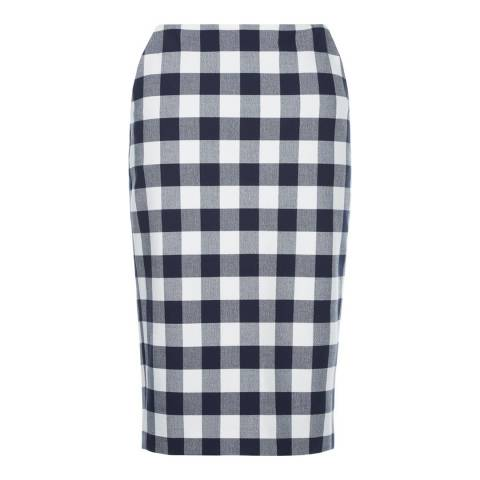 Hobbs London Navy/White Gingham Atrani Skirt
