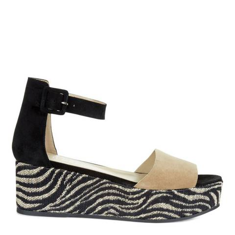 Hobbs London Black/White Leather Mabel Wedge Shoes