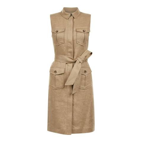 Hobbs London Tan Linen Becca Safari Dress