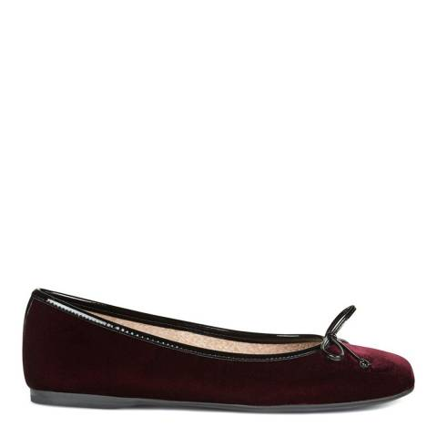 Hobbs London Burgundy Velvet Prior Ballerina Shoes