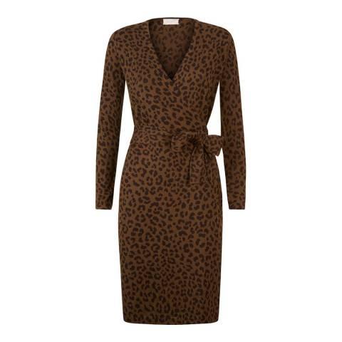 Hobbs London Khaki/Brown Knitted Laila Dress