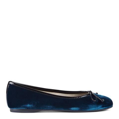 Hobbs London Teal Velvet Prior Ballerina Shoes