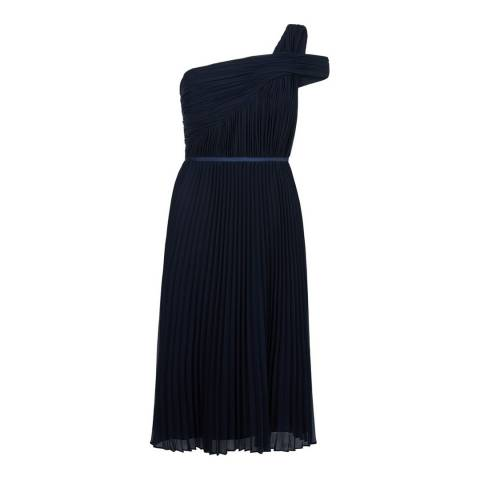 Hobbs London Navy Pleated Andrea Dress