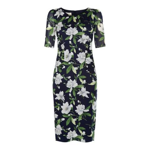 Hobbs London Navy/Multi Claudia Dress