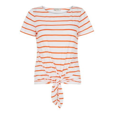Hobbs London White/Orange Alexandra Breton Top