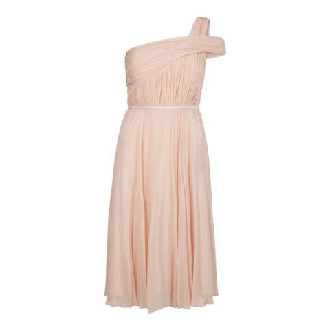 Hobbs London Peach Pink Pleated Andrea Dress