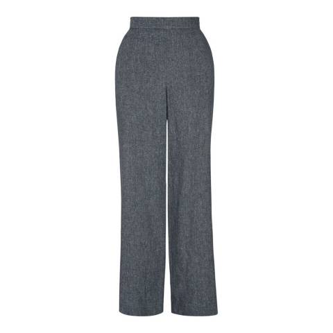 Hobbs London Blue Linen Cotton Anise Trousers