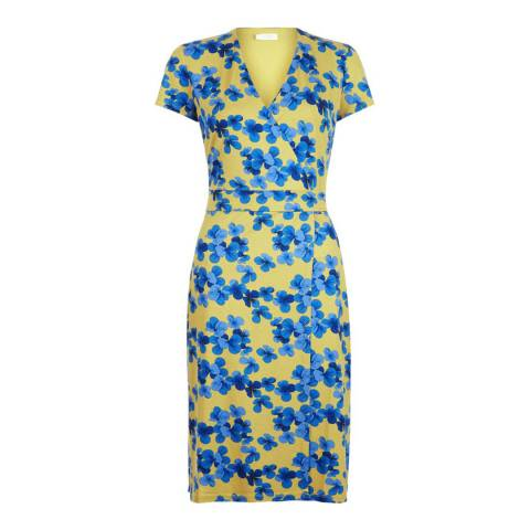 Hobbs London Yellow/Blue Cap Sleeve Sally Dress