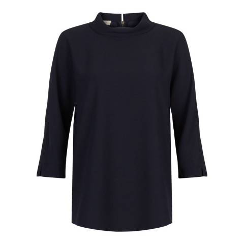 Hobbs London Navy Carole Tunic Top