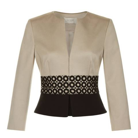 Hobbs London Satin Beige/Black Rebecca Jacket