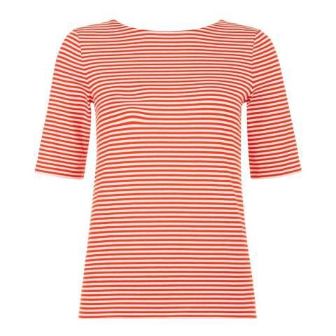 Hobbs London Flame Orange/White Stripe Violette Top