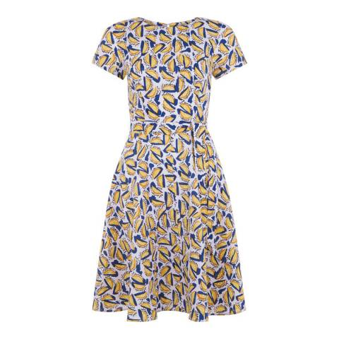 Hobbs London White/Yellow Sorrento Dress