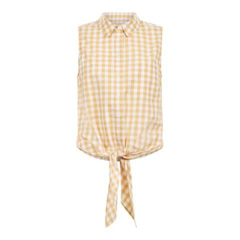 Hobbs London Yellow/White Thora Gingham Cotton Shirt