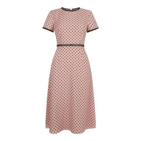 Hobbs London Pink/Black Polka Dot Maria Dress