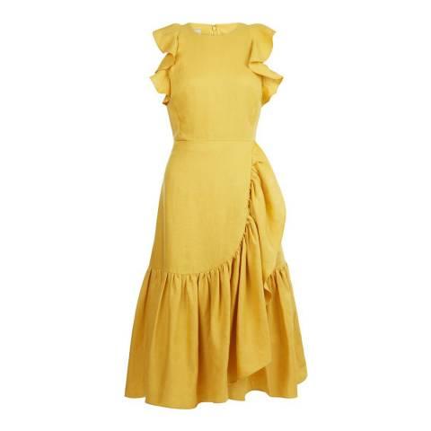 Hobbs London Yellow Ochre Linen Carmen Dress