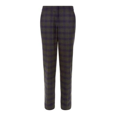 Hobbs London Green/Navy Check Harrington Trousers