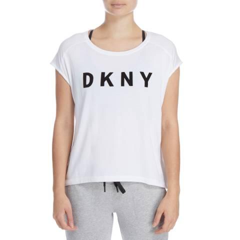 DKNY White Logo Hi Low T-Shirt