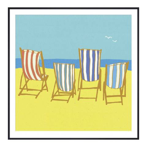 Paragon Prints Deckchairs, Louise Cunningham, Framed Perspex Print 33x33cm
