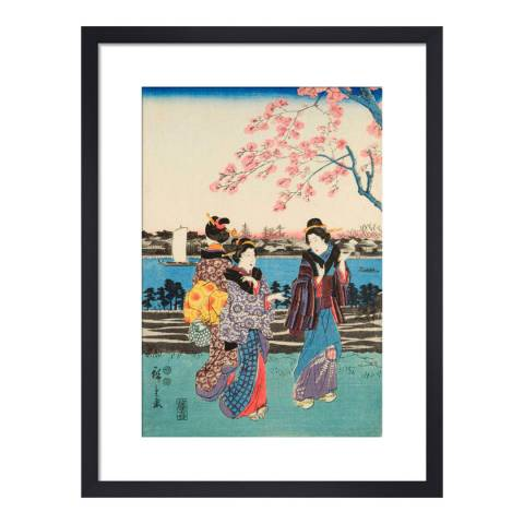 Paragon Prints Women travelling on the beach of Futami, Utagawa Hiroshige I, Framed Print 35.6x28cm