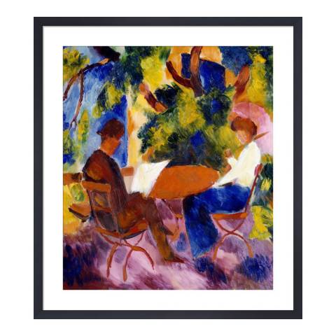 Paragon Prints At the Garden Table, August Macke 1914, Framed Print 50x45cm