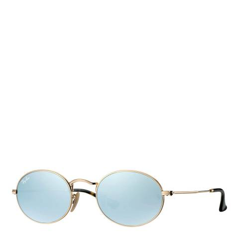 Ray-Ban Unisex Gold Oval Flat Sunglasses 48mm