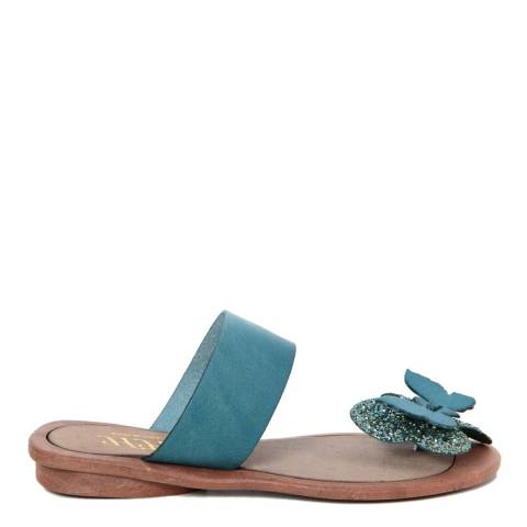 HH Made in Italy Light Blue Leather Giant Glitter Butterfly Toe Thong Sandal