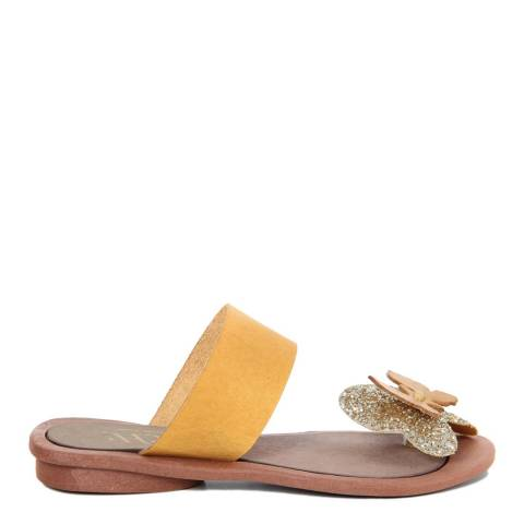 HH Made in Italy Yellow Leather Giant Glitter Butterfly Toe Thong Sandal