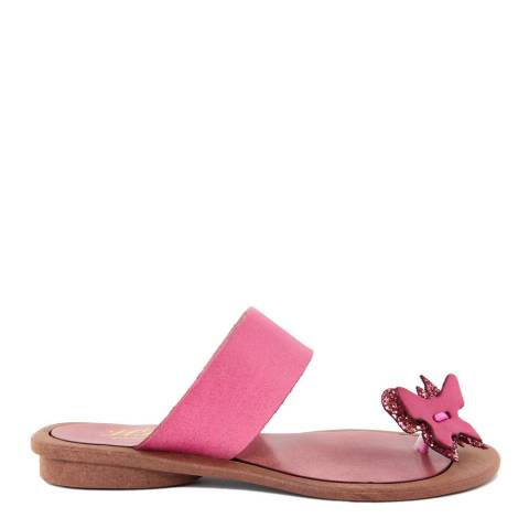 HH Made in Italy Fuschia Leather Glitter Butterfly Toe Thong Sandal