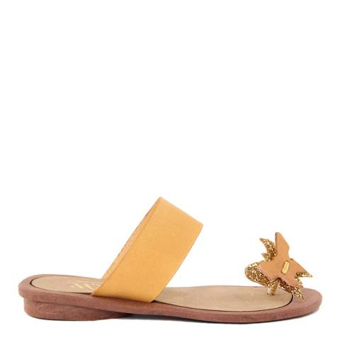 HH Made in Italy Yellow Leather Glitter Butterfly Toe Thong Sandal