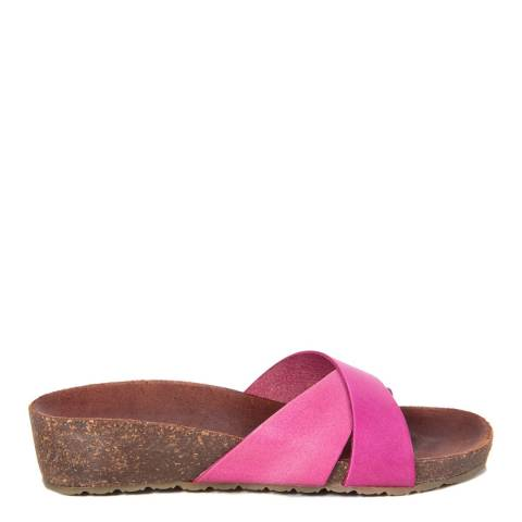 HH Made in Italy Fuschia Leather Cross Front Footbed Sandal