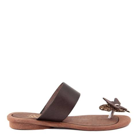 HH Made in Italy Dark Brown Leather Glitter Butterfly Toe Thong Sandal
