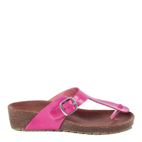 HH Made in Italy Fuschia Leather Toe Thong Footbed Sandal