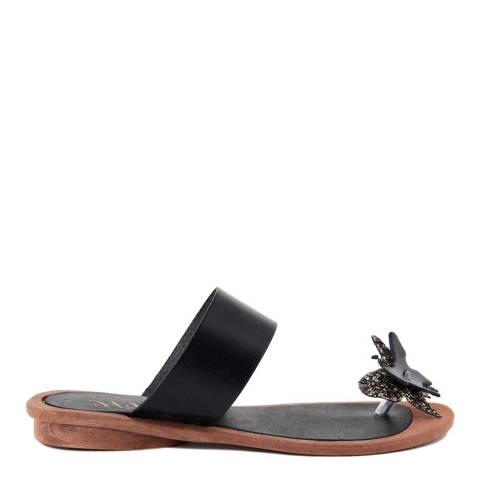 HH Made in Italy Black Leather Glitter Butterfly Toe Thong Sandal