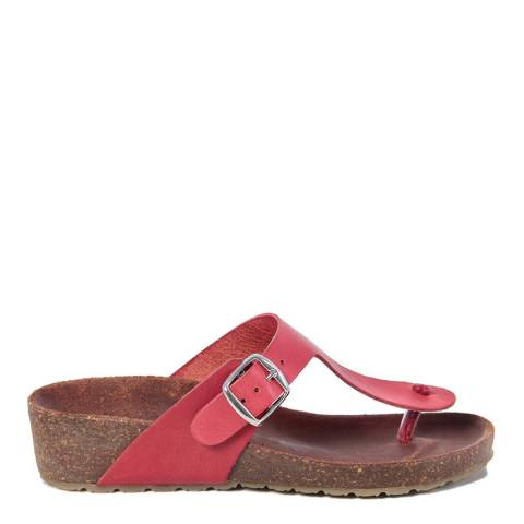 HH Made in Italy Red Leather Toe Thong Footbed Sandal