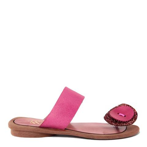 HH Made in Italy Fuschia Leather Giant Glitter Flower Toe Thong Sandal
