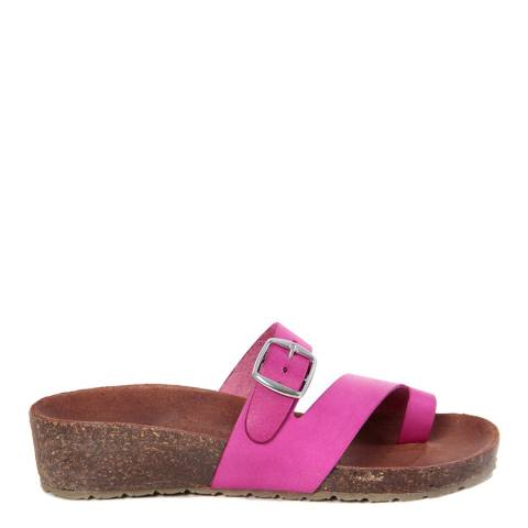 HH Made in Italy Fuschia Leather Twist Strap Footbed Sandal