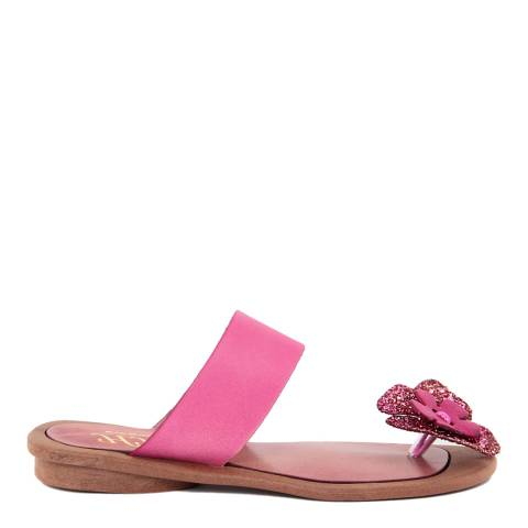 HH Made in Italy Fuschia Leather Glitter Flower Toe Thong Sandal