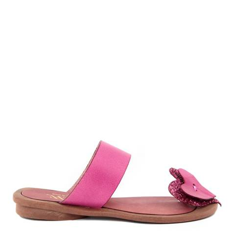 HH Made in Italy Fuschia Leather Glitter Heart Toe Thong Sandal