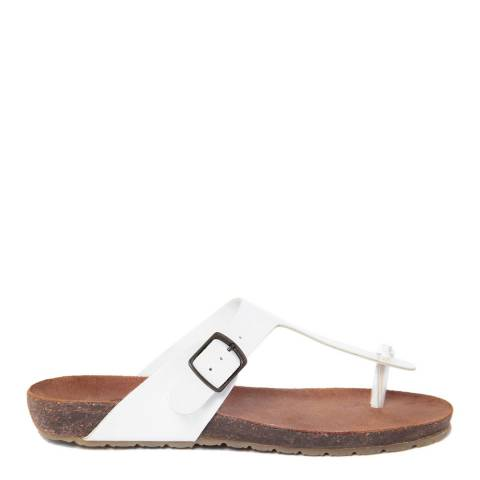 HH Made in Italy White Leather Toe Thong Footbed Sandal