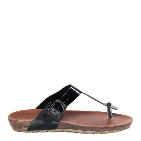 HH Made in Italy Black Leather Toe Thong Footbed Sandal