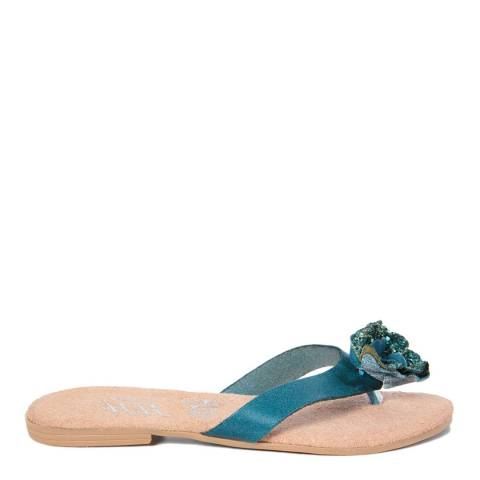 HH Made in Italy Blue Leather Glitter Flower Flip Flop