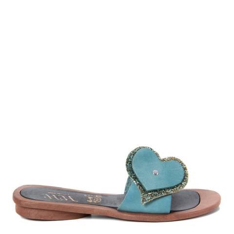 HH Made in Italy Blue Leather Glitter Heart Sandal
