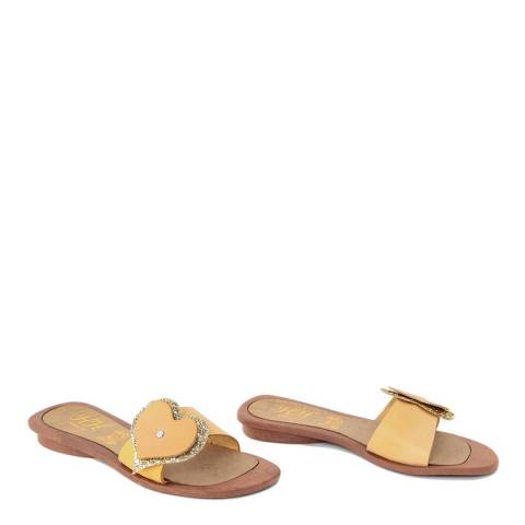 HH Made in Italy Yellow Leather Glitter Heart Sandal