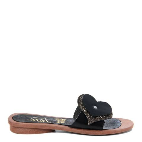 HH Made in Italy Black Leather Glitter Heart Sandal