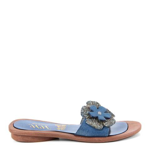 HH Made in Italy Blue Leather Glitter Flower Sandal