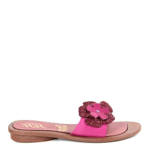 HH Made in Italy Fuschia Leather Glitter Flower Sandal