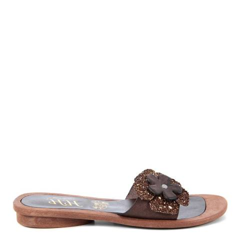 HH Made in Italy Dark Brown Leather Glitter Flower Sandal