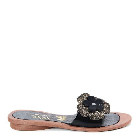HH Made in Italy Black Leather Glitter Flower Sandal