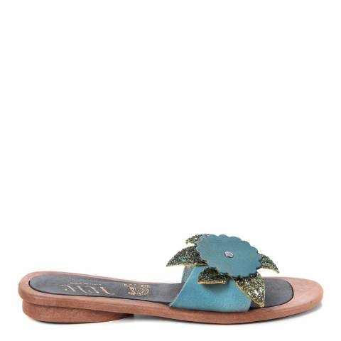 HH Made in Italy Light Blue Leather Giant Glitter Flower Sandal
