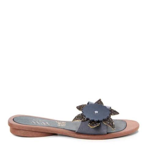 HH Made in Italy Dark Blue Leather Giant Glitter Flower Sandal